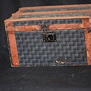 Antique Doll Trunk Litho Miniature W/ Tray Wood