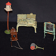 Old Doll Miniature Dollhouse Bird Cage Mirror Stove Britains Stove Phone