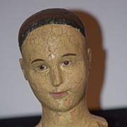 Old Creche Wood Head Bust Carved Enamel Eyes
