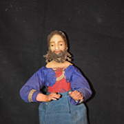 Antique Doll Creche Wax & Wood Jointed Wonderful