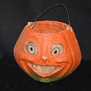 Antique Pumpkin Container Candy Holder Papier Mache W/ Paper Features Jack O'lantern Doll Size