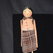 Old Doll English Wood Carved Jointed Grodnertal Penny Unusual Peg Doll