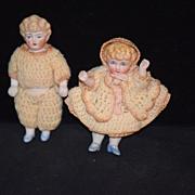 Antique Doll Miniature China Head Boy and Girl Dollhouse Pair