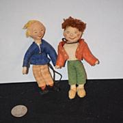 Old Doll Miniature Cloth Max & Moritz Dolls