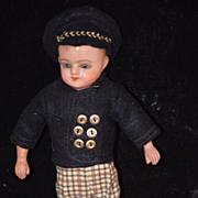 Antique Doll Papier Mache Glass Eyes Wispy Hair Boy Doll Unusual Cabinet Size