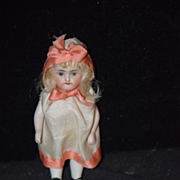 Antique Doll Miniature Dollhouse All Bisque Jointed Original Clothes