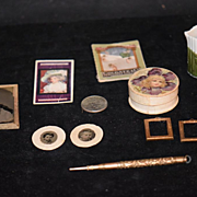 Antique Doll Miniature Lot Dollhouse Frames Photograph Tin Types Book Powder Box Pottery Gold Pencil Fashion Doll