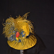 Old Doll Hat Feathers Flowers Felt Lace For Fashion Doll