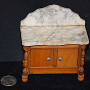 Old Doll Miniature Marble Top Cabinet Fancy Dollhouse Wood & Marble Chest Schneegas