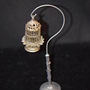 Antique Doll Miniature Birdcage W/ Stand Fancy Dollhouse Bird Cage