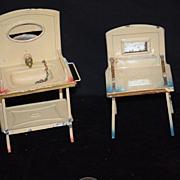 Antique Doll Miniature Tin Bathroom or Kitchen Set Dollhouse