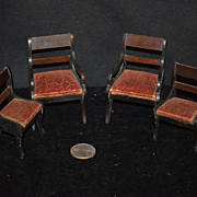 Old Doll Miniature Chairs Dollhouse Wood Upholstered