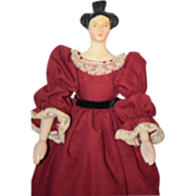 Wood Doll Peg Carved Fancy Hair Style
