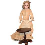 Old Doll Miniature Table Tilt Top For Fashion Doll Ornate Walnut