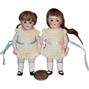 Antique Doll Bisque Miniature All Bisque Dollhouse TWINS 2 Bisque Dolls Jointed