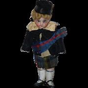 Antique Doll Mignonette Bisque Swivel Neck All Bisque Miniature Dollhouse Original Costume ...