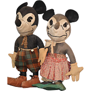 SOLD Old Doll Mickey Mouse & Minnie Mouse Cloth Dolls Unusual  Wonderful Set