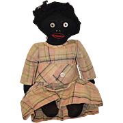 Old Doll Black Cloth Rag Doll Button Eyes Stockinette