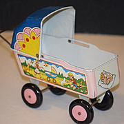 Old Doll Tin Metal Carraige Pram Buggy Baby Litho Wonderful Miniature