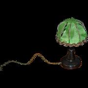 Old Doll Miniature Lamp Dollhouse Fancy Silk Shade Wood Table Lamp