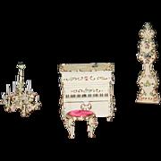 Vintage Spielwaren Rococo Piano Stool Grandfather Clock Ornate Chandelier Miniature Dollhouse