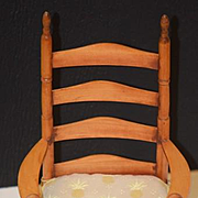 Vintage Doll Wood Ladder Back Chair Display