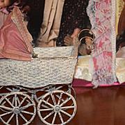 Antique Doll Carriage W/ Shade Old Tin Wonderful Fashion Doll Size Pram Stroller Buggy