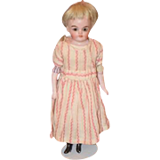Antique Doll Miniature Bisque Kling Glass Eyes  Dollhouse Closed Mouth Solid Dome Head