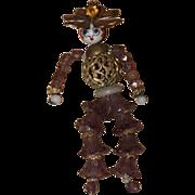 Old Doll Beaded Doll Celluloid Head Miniature Unusual Dollhouse Glass & Metal On Original Card