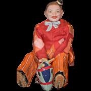 Antique Doll Mechanical Papier Mache Doll Paper Mache Mechanical Wind Up Jester Clown Riding