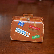 Old Doll Miniature Leather Suit Case Travel