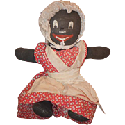 Old Doll Black Cloth Stockinette Rag Doll Painted Features Character Doll