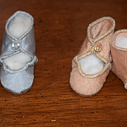 Old Doll Shoes Wonderful Button TWO Pairs Silk
