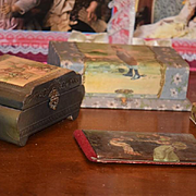 Wonderful Old Presentation Box Lot W/ Candy Container Victorian Book For Doll HUGE LOT Display
