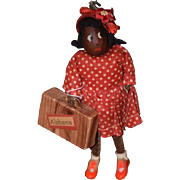 SALE PENDING Old Doll Black Wood Leather Traveling Miniature Cabinet Size Doll Nut