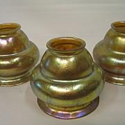 Three (3) matching high lustered Loetz lamp shades