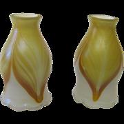 Pair art glass shades