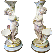 A Pair of Vintage Continental Bisque Porcelain Figures