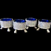 Sterling & Cobalt Blue Glass Salt Cellars