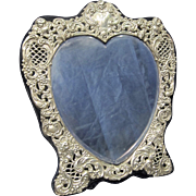 Vintage Valentine's Heart Shape Sterling Mirror