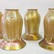 Set of four (4) Quezal shades