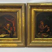Pair of Dutch paintings of window scenes