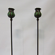 Tiffany Studios bronze candlesticks