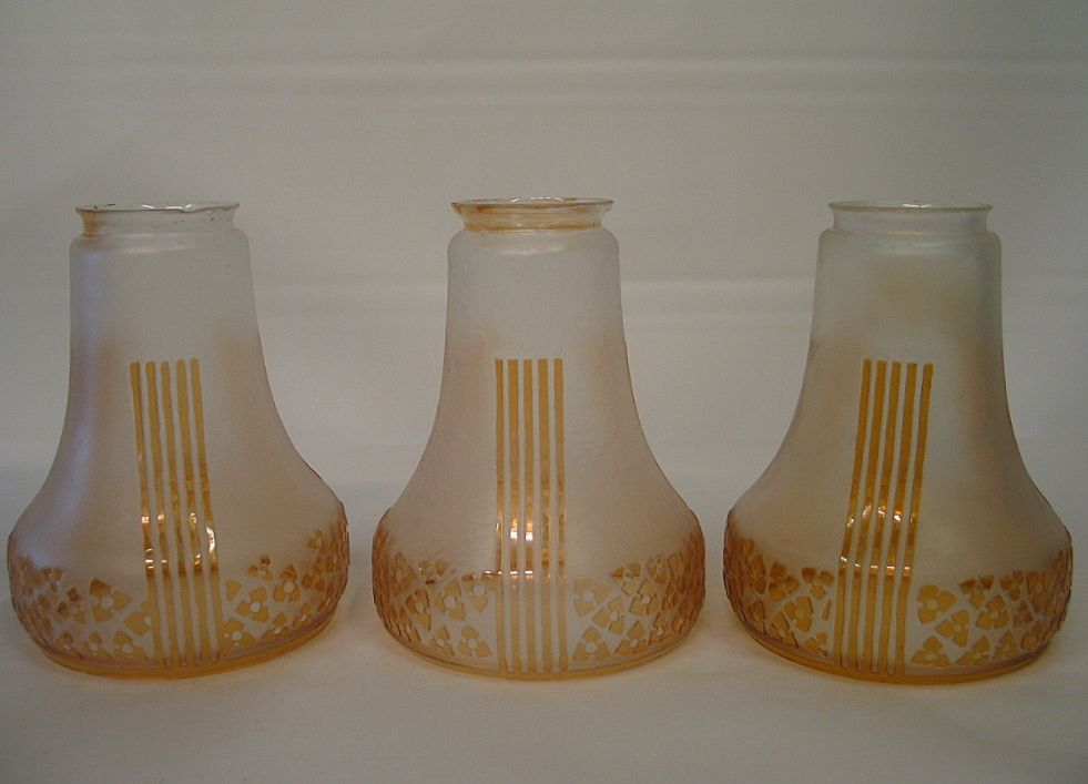 three classical art deco lamp shades from zinziantiques on ruby lane. Black Bedroom Furniture Sets. Home Design Ideas