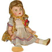 "All Original Tagged Petite 20"" Composition Child Doll with Pigtails 1940s"