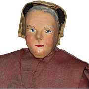 Vintage Artist Paper Mache & Cloth Shaker Woman Doll