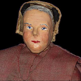 Vintage Artist Paper Mache & Cloth Shaker Woman Doll
