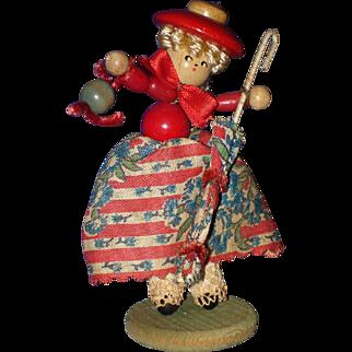 "Vintage 3 1/2"" Segmented Wooden Button Umbrella Doll"
