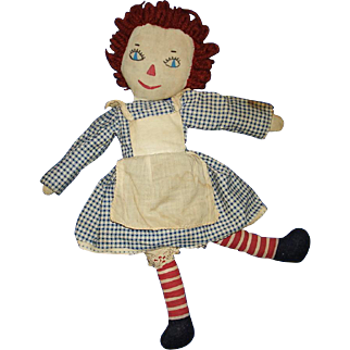 Vintage Well Loved Homemade Raggedy Ann Cloth Rag Doll