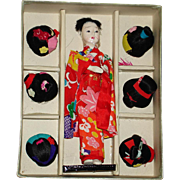Katsuraningyo with Six Wigs Japanese Doll in Box Japan 1950s